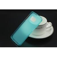 Силиконовый матовый полупрозрачный чехол для Samsung Galaxy S6 Edge Голубой