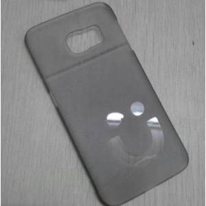 Пластиковый матовый полупрозрачный дизайнерский чехол Smile для Samsung Galaxy S6 Edge Черный