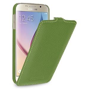 Кожаный чехол вертикальная книжка (нат. кожа) для Samsung Galaxy S6 Зеленый