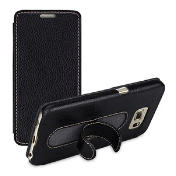 Кожаный чехол горизонтальная книжка (нат. кожа) со встроенной ножкой-подставкой для Samsung Galaxy S6
