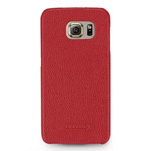Кожаный чехол накладка (нат. кожа) для Samsung Galaxy S6 Красный