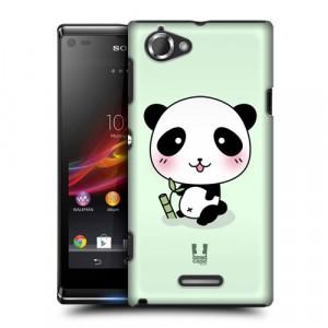 Пластиковый матовый дизайнерский чехол с эксклюзивной серией принтов Panda Emotion для Sony Xperia L (изготовление на заказ)