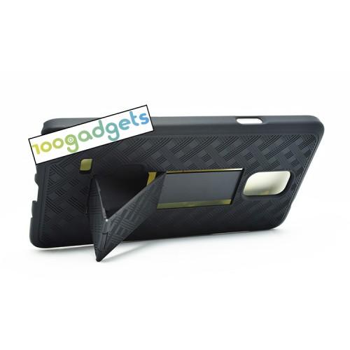 Антиударный поликарбонатный чехол с независимым защитным модулем для экрана на клипсе и ножкой-подставкой для Samsung Galaxy Note 4