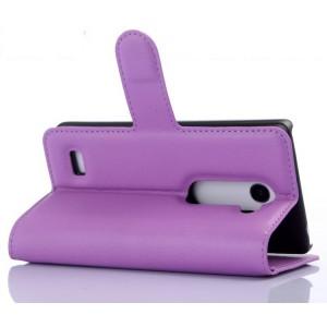 Чехол портмоне подставка на пластиковой основе с защелкой для LG Leon