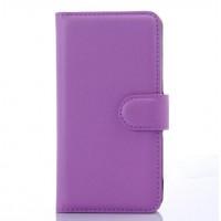 Чехол портмоне подставка на пластиковой основе с защелкой для LG Leon Фиолетовый