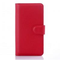 Чехол портмоне подставка на пластиковой основе с защелкой для LG Leon Красный