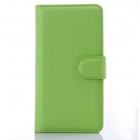Чехол портмоне подставка на пластиковой основе с защелкой для LG Leon Зеленый