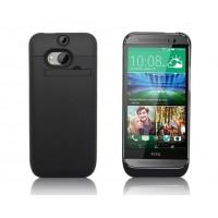 Пластиковый чехол накладка/экстра аккумулятор (3200 мАч) с индикатором заряда и встроенной ножкой-подставкой для HTC One (M8) Черный