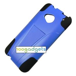Гибридный антиударный силиконовый чехол с поликарбонатной крышкой и ножкой-подставкой для HTC One (М7) Dual SIM