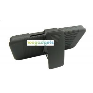 Антиударный поликарбонатный чехол с независимым защитным модулем для экрана на клипсе и ножкой-подставкой для HTC One (М7) Dual SIM