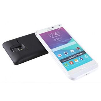 Пластиковый чехол накладка/экстра аккумулятор (3800 мАч) с индикаторами заряда и ножкой-подставкой для Samsung Galaxy Note 4
