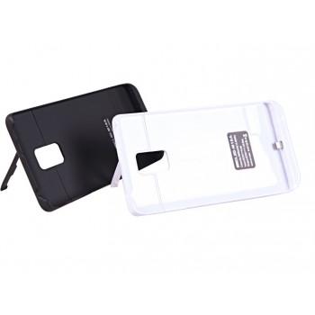 Пластиковый чехол накладка/экстра аккумулятор (3800 мАч) с индикаторами заряда и встроенной ножкой-подставкой для Samsung Galaxy Note Edge