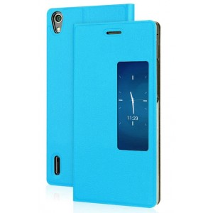 Чехол флип с окном вызова для Huawei Ascend P7 Голубой