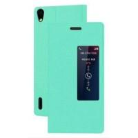 Чехол флип с окном вызова для Huawei Ascend P7 Зеленый