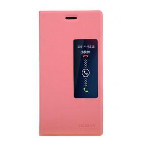 Чехол флип с окном вызова для Huawei Ascend P7 Розовый