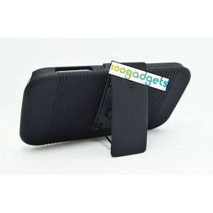 Антиударный поликарбонатный чехол с независимым защитным модулем для экрана на клипсе и ножкой-подставкой для Samsung Galaxy S4