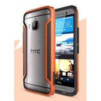 Гибридный нескользящий ультратонкий бампер силикон-пластик для HTC One M9 Оранжевый