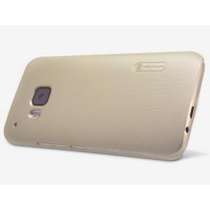 Пластиковый матовый нескользящий премиум чехол для HTC One M9 Бежевый