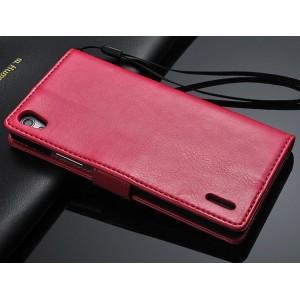 Чехол портмоне с ремешком для Huawei Ascend P7 Пурпурный
