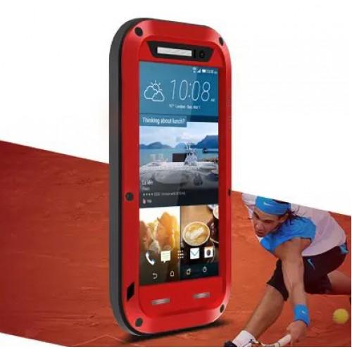 Эксклюзивный многомодульный противоударный премиум винтовой чехол с силиконовой основой, закаленным стеклом, карбоновым поверхностным слоем для HTC One M9