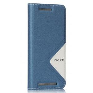 Дизайнерский текстурный чехол флип подставка для HTC One M9 Синий