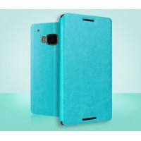 Чехол флип подставка водоотталкивающий для HTC One M9 Голубой