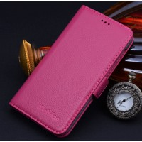 Кожаный чехол портмоне (нат. кожа) для HTC One M9 Пурпурный