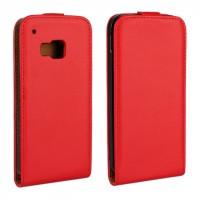 Чехол вертикальная книжка на пластиковой основе с магнитной защелкой для HTC One M9 Красный