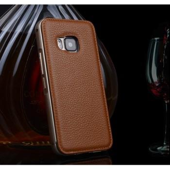 Двухкомпонентный чехол с металлическим бампером и кожаной накладкой (нат. кожа) для HTC One M9
