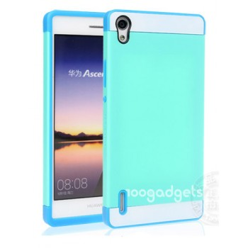 Двуцветный силиконовый чехол для Huawei Ascend P7 голубой-бирюза