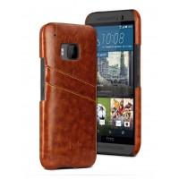 Дизайнерский кожаный чехол накладка с отделениями для карт для HTC One M9 Коричневый