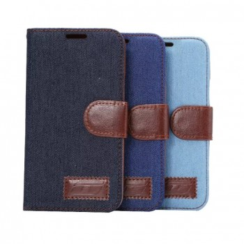 Чехол портмоне подставка с джинсовой текстурой, магнитной защелкой и пластиковой основой для HTC One M9
