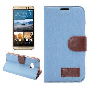Чехол портмоне подставка с джинсовой текстурой, магнитной защелкой и пластиковой основой для HTC One M9 Голубой