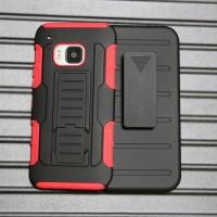 Антиударный силиконовый чехол с поликарбонатной крышкой и ножкой-подставкой для HTC One M9 Красный