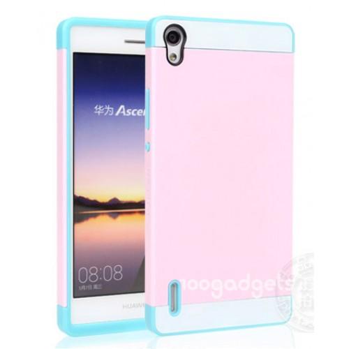 Двуцветный силиконовый чехол для Huawei Ascend P7 розово-голубой
