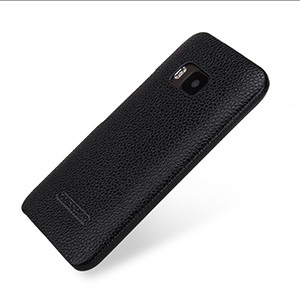 Кожаный чехол накладка (нат. кожа) серия Back Cover для HTC One M9 Черный