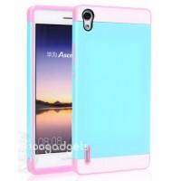 Двуцветный силиконовый чехол для Huawei Ascend P7 голубо-розовый