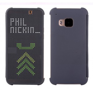 Точечный чехол смарт-флип с функциями оповещения для HTC One M9 Серый