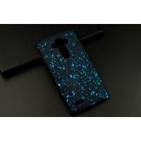 Пластиковый матовый дизайнерский чехол с голографическим принтом Звезды для LG G4 Голубой