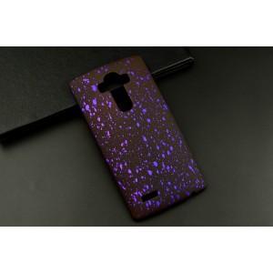 Пластиковый матовый дизайнерский чехол с голографическим принтом Звезды для LG G4 Фиолетовый