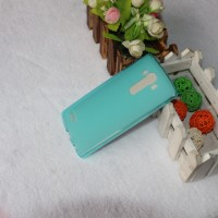 Силиконовый матовый полупрозрачный чехол для LG G4 Голубой