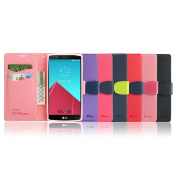 Текстурный чехол портмоне подставка на силиконовой основе с дизайнерской защелкой для LG G4
