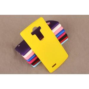 Пластиковый матовый непрозрачный чехол для LG G4 Желтый