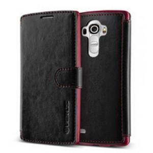 Кожаный чехол портмоне (нат. кожа) с магнитной застежкой и усиленной прошивкой для LG G4 Черный