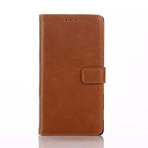 Чехол портмоне подставка с защелкой на пластиковой основе для Sony Xperia C4 Оранжевый