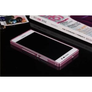 Металлический бампер для Huawei Ascend P7 Розовый