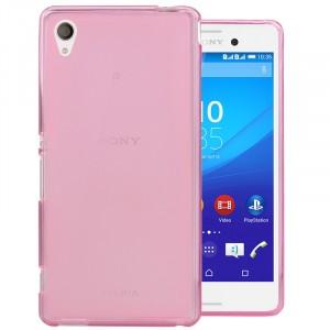 Силиконовый матовый полупрозрачный чехол для Sony Xperia M4 Aqua Розовый