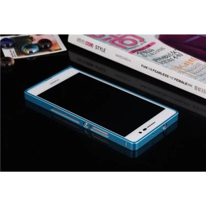 Металлический бампер для Huawei Ascend P7 Голубой