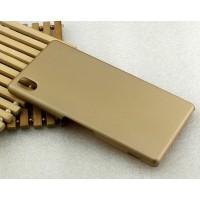 Пластиковый матовый металлик чехол для Sony Xperia M4 Aqua Бежевый