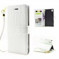 Чехол портмоне подставка текстура Крокодил с магнитной защелкой и ремешком на пластиковой основе для Sony Xperia M4 Aqua Белый